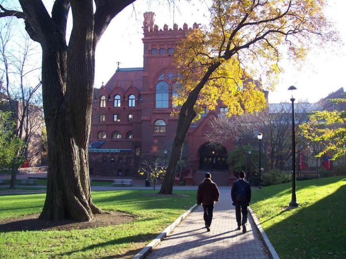 Students walking toward library